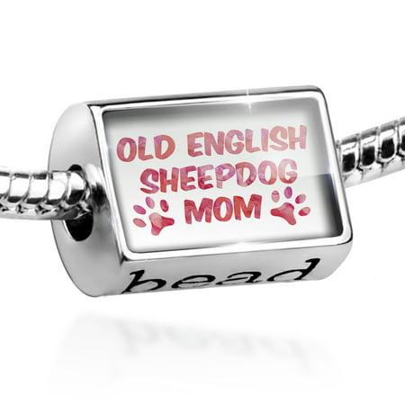 Old English Sheepdog Photo Charm (Bead Dog & Cat Mom Old English Sheepdog Charm Fits All European Bracelets)
