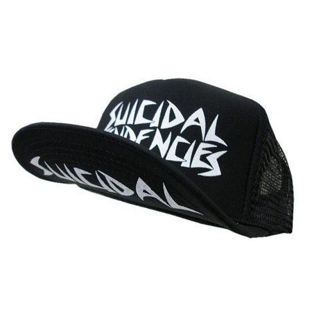 Suicidal Tendencies OG Logo Black Body WHITE Print Flip Up Hat Cap ()