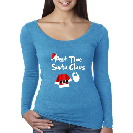 New Way 1123 - Women's Long Sleeve T-Shirt Part Time Santa Claus Christmas Saint Nick XL Turquoise - Santa In Blue Suit
