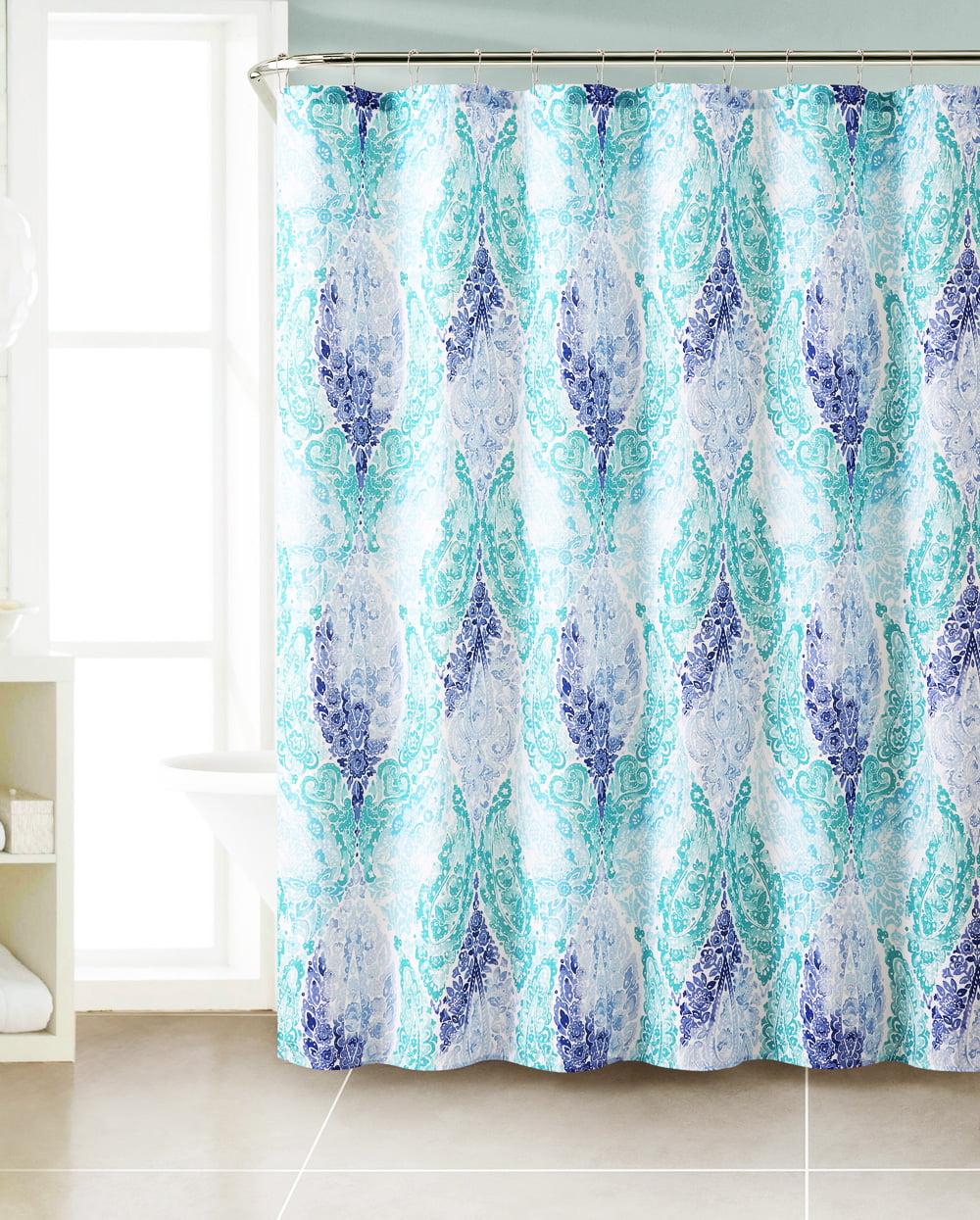 Purple Navy Blue White Fabric Shower Curtain Chevron Paisley Bathroom Bath 72 in