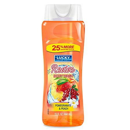 - Lucky Super Soft Body Wash, Pomegranate & Peach, 15 Ounce