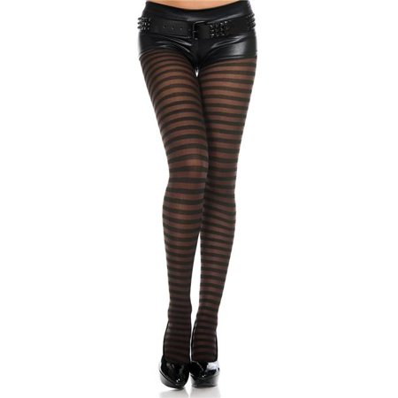 Music Legs 7471-BLK-COFFEE Striped Tights, Black & Coffee