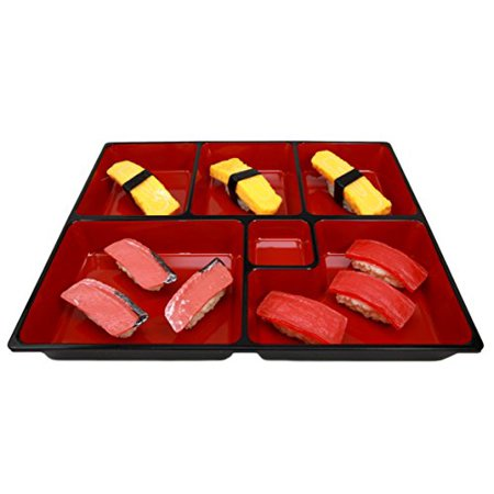 Laquer Tray (Atlantic Collectibles Japanese 6 Compartments Bento Box Style Lacquered Plastic Serving or Display Platter Tray 11.5