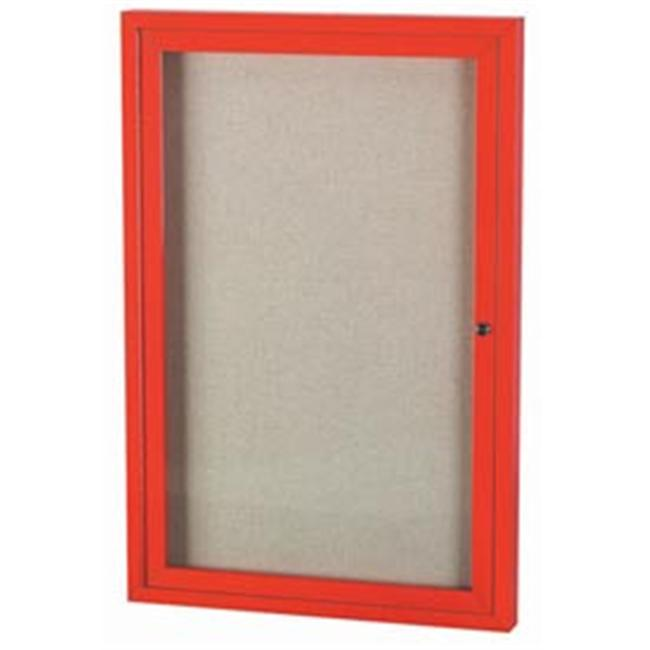 Aarco Products ODCC4836RIR 36 inch W x 48 inch H Illuminated Outdoor Enclosed Bulletin Board - Red