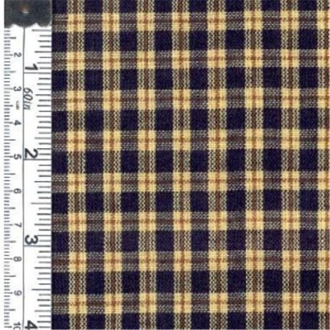 Textile Creations 1198 Rustic Woven Fabric, Small Plaid Navy And Natural, 15 yd.