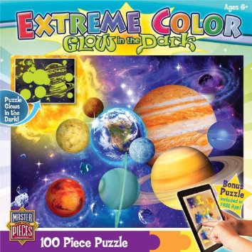 MasterPieces Puzzle Company Extreme Color Glow-In-The-Dark Solar System Jigsaw Puzzle (100-Piece), Art by Michael Searle