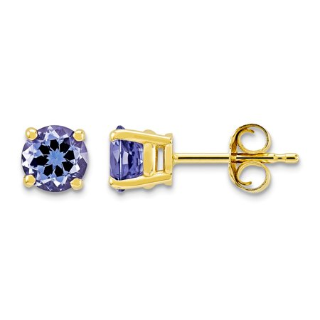 Roy Rose Jewelry 14K Yellow Gold Tanzanite Post Earrings, 1.1-Carat Gemweight