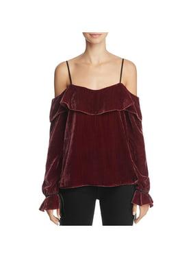 ae5de58db561 Product Image WAYF Womens Jepson Velvet Ruffled Blouse
