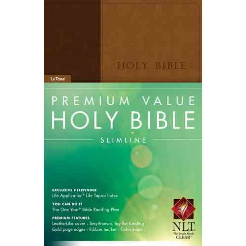Holy Bible: New Living Translation, Brown / Tan TuTone, LeatherLike, Slimline Edition
