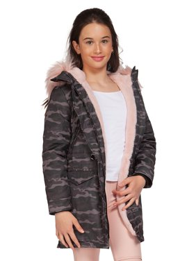 Girl's Faux-Fur Trimmed Parka Coat