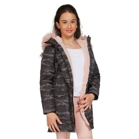 Girl's Faux-Fur Trimmed Parka Coat (Zara Parka Jacket Women)