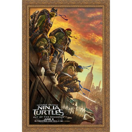 Teenage Mutant Ninja Turtles 28x40 Large Gold Ornate Wood Framed Canvas Movie Poster Art - The Gold Ninja