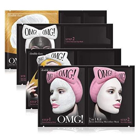 Double Dare OMG! Spa Masks Set - Includes Detox Bubbling Mask, Gold Peel Off Mask, Zone Charcoal Mask, Hair Repair