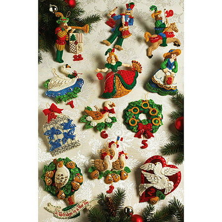 Partridge In A Pear Tree Ornaments Felt Applique Kit Set Of 12