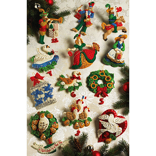Partridge In A Pear Tree Ornaments Felt Applique Kit, Set of 12