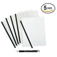 5-Pack Clear Report Covers with Black Binding Bar and a Free Advantage Chrome and Black Custom Retractable Pen