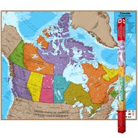 Round World Hemispheres Laminated Map, Canada, 47'' x 38''