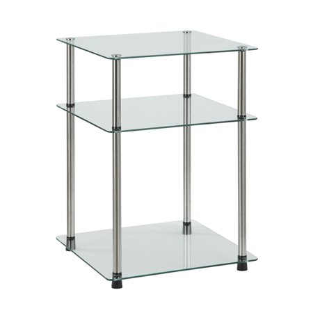 Convenience Concepts Designs2Go No Tools 3 Tier End Table, Glass ()