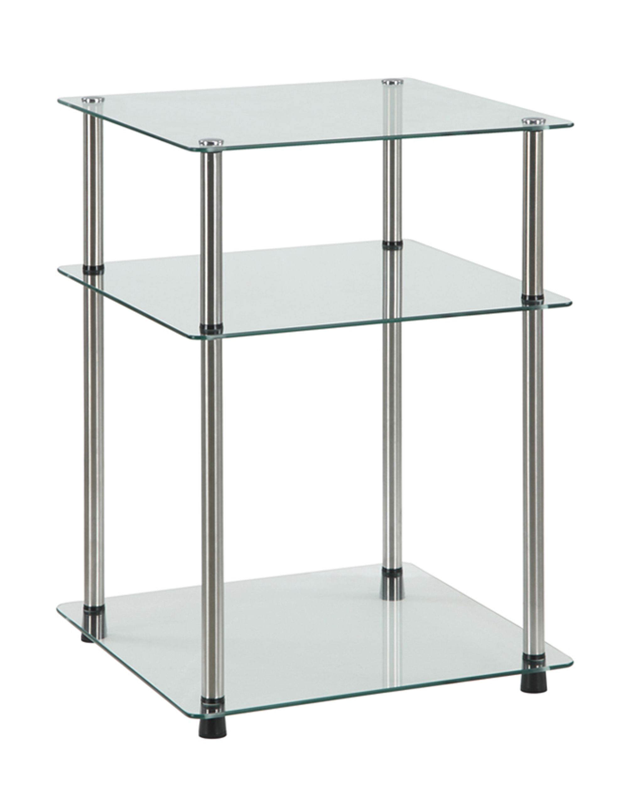 Convenience Concepts Designs2Go No Tools 3 Tier End Table, Glass