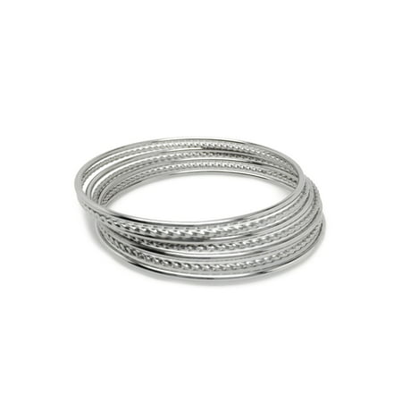 Bangle Silver Designer Bracelets - Silver Stainless Steel Stackable Mixed Bangle Bracelets for Women (Set of 7)