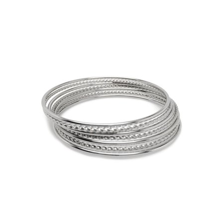 - Silver Stainless Steel Stackable Mixed Bangle Bracelets for Women (Set of 7)