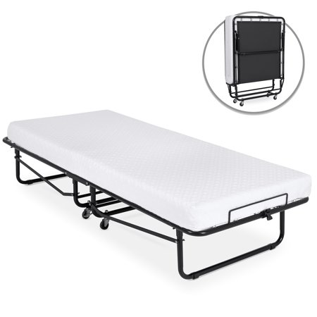 Best Choice Products Folding Rollaway Cot-Sized Mattress Guest Bed with 3in Memory Foam, Locking Wheels, Steel Frame,