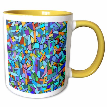 Tone Multicolored Glass - 3dRose Bright Vibrant and Colorful Blue Gaudi inspired mosaic pattern - stain glass like - multicolored - Two Tone Yellow Mug, 11-ounce