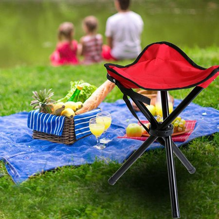 Outdoor Portable Lightweight Tripod Three Feet Folding Red Chair Camping Hiking Fishing Picnic Garden BBQ