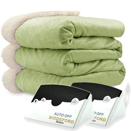 Biddeford Blankets Micromink Sherpa Electric Heated Blanket, Green