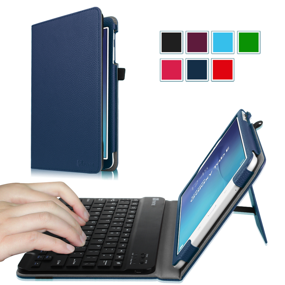 Fintie Case for Samsung Galaxy Tab E 9.6 Tablet - Smart Slim Shell Cover with Removable Bluetooth Keyboard, Navy