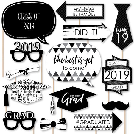 Black and White Grad - Best is Yet to Come - Black and White 2019 Graduation Party Photo Booth Props Kit - 20