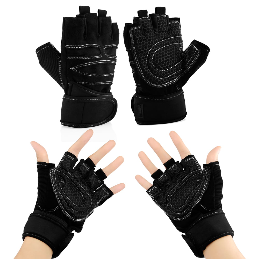 Workout Gym Half Finger Gloves Weight Lifting Wrist Wrap Sports Exercise Training Fitness by