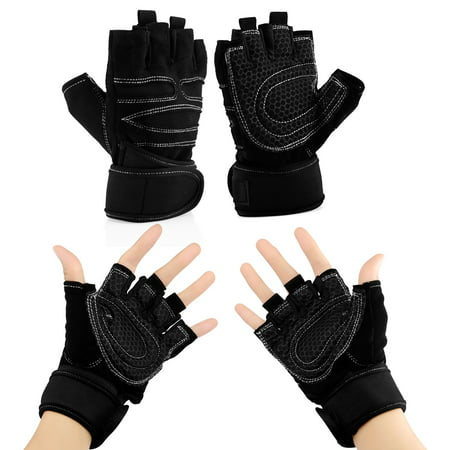Workout Gym Half Finger Gloves Weight Lifting Wrist Wrap Sports Exercise Training