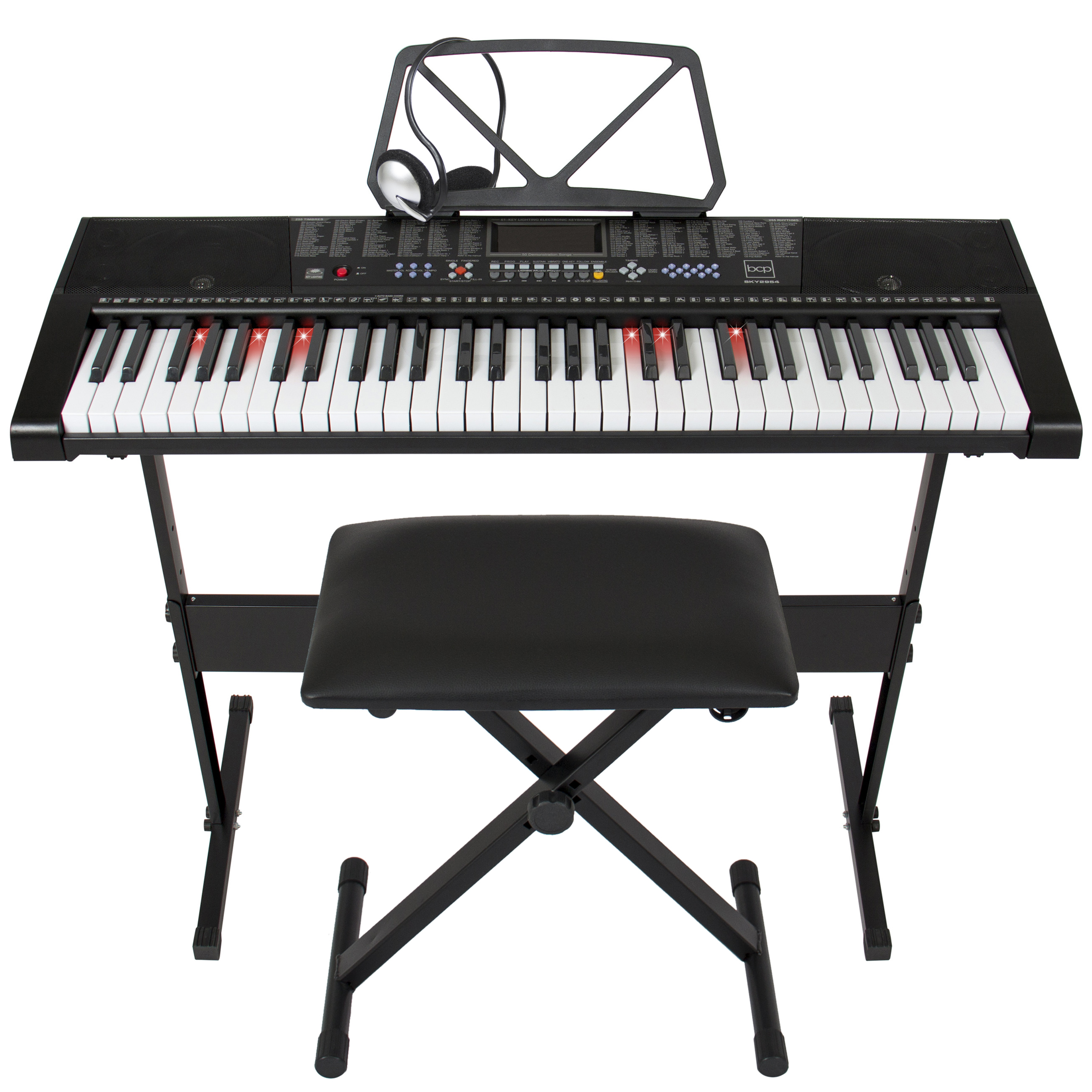 Best Choice Products Teaching Electronic Keyboard Set 61 Lighted Keys W  Adjustable H... by
