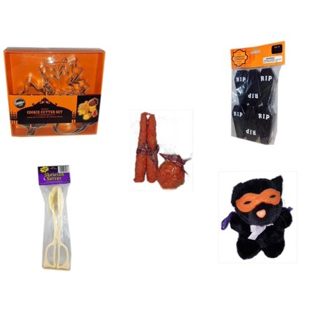 Halloween Fun Gift Bundle [5 Piece] - Wilton Autumn 8-Piece Cookie Cutter Set - Tombstone Containers Party Favors 6 Count - Autumn Orange-spice Candles Set of 3 - Skeleton Server  - Manley Toys  Cos