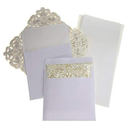 Paper Square Laser-Cut Pearlescent Scroll Swirl Invitations, Ivory, 6-1/4-Inch, 8