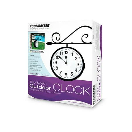 Poolmaster Dual Sided Water Resistant Outdoor Pool Patio Hanging Clock, Black