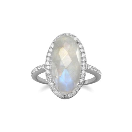 Oval Rainbow Moonstone Ring with Cubic Zirconia Halo Sterling - Oval Genuine Moonstone Ring