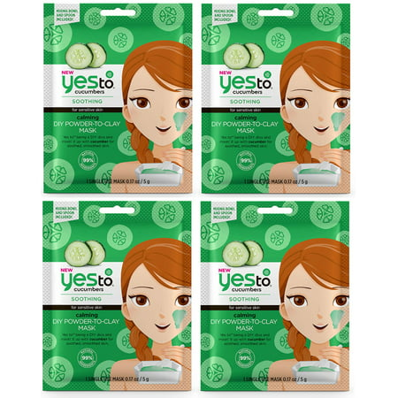 Yes To Cucumbers Soothing for Sensitive Skin Calming DIY Powder to Clay Mask, 1 Count (Pack of 4) + Cat Line Makeup Tutorial](Diy Zombie Makeup Tutorial)
