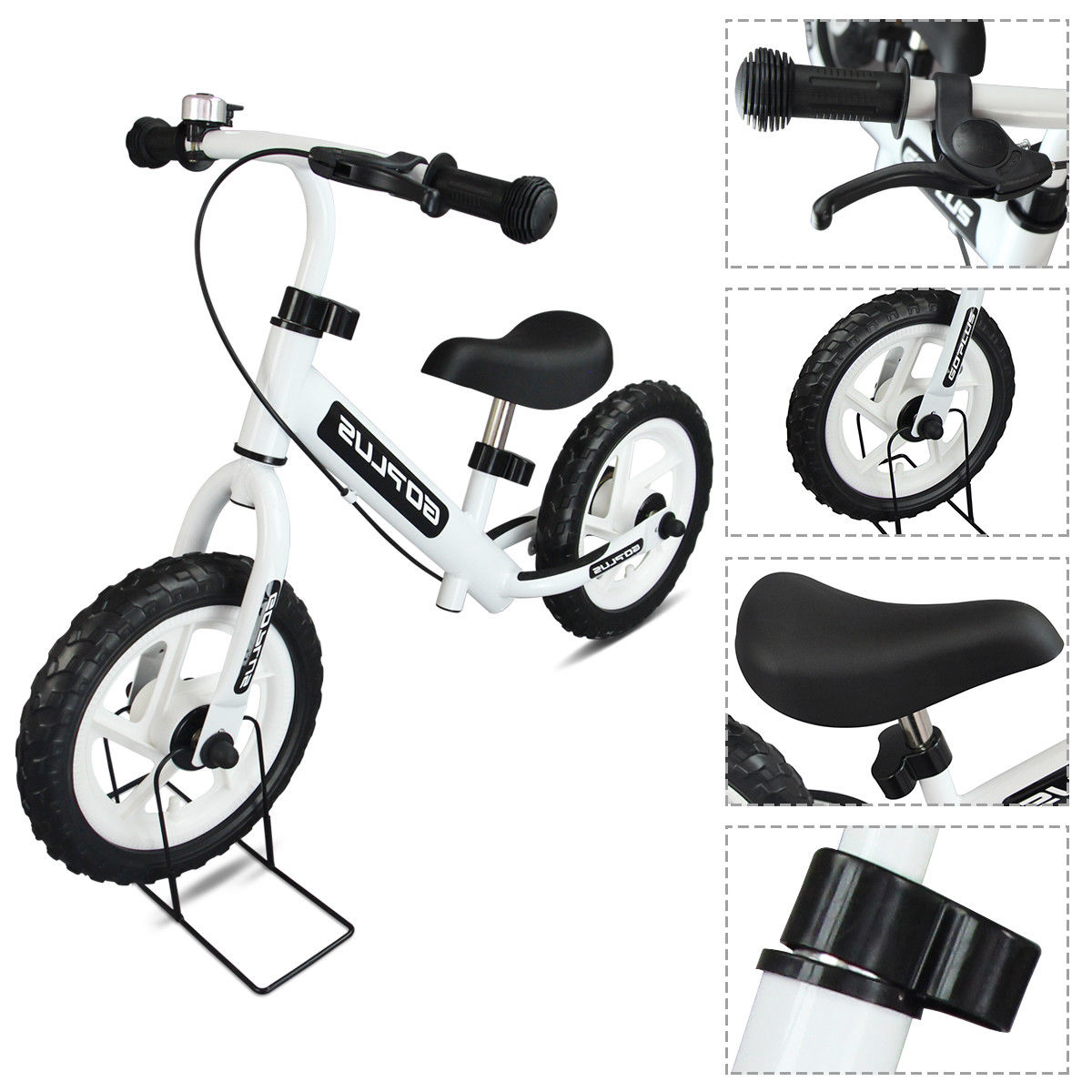 "GHP 35""Lx18""Wx24""H White Durable Child Balancing Training Bike w Bell and Brake"