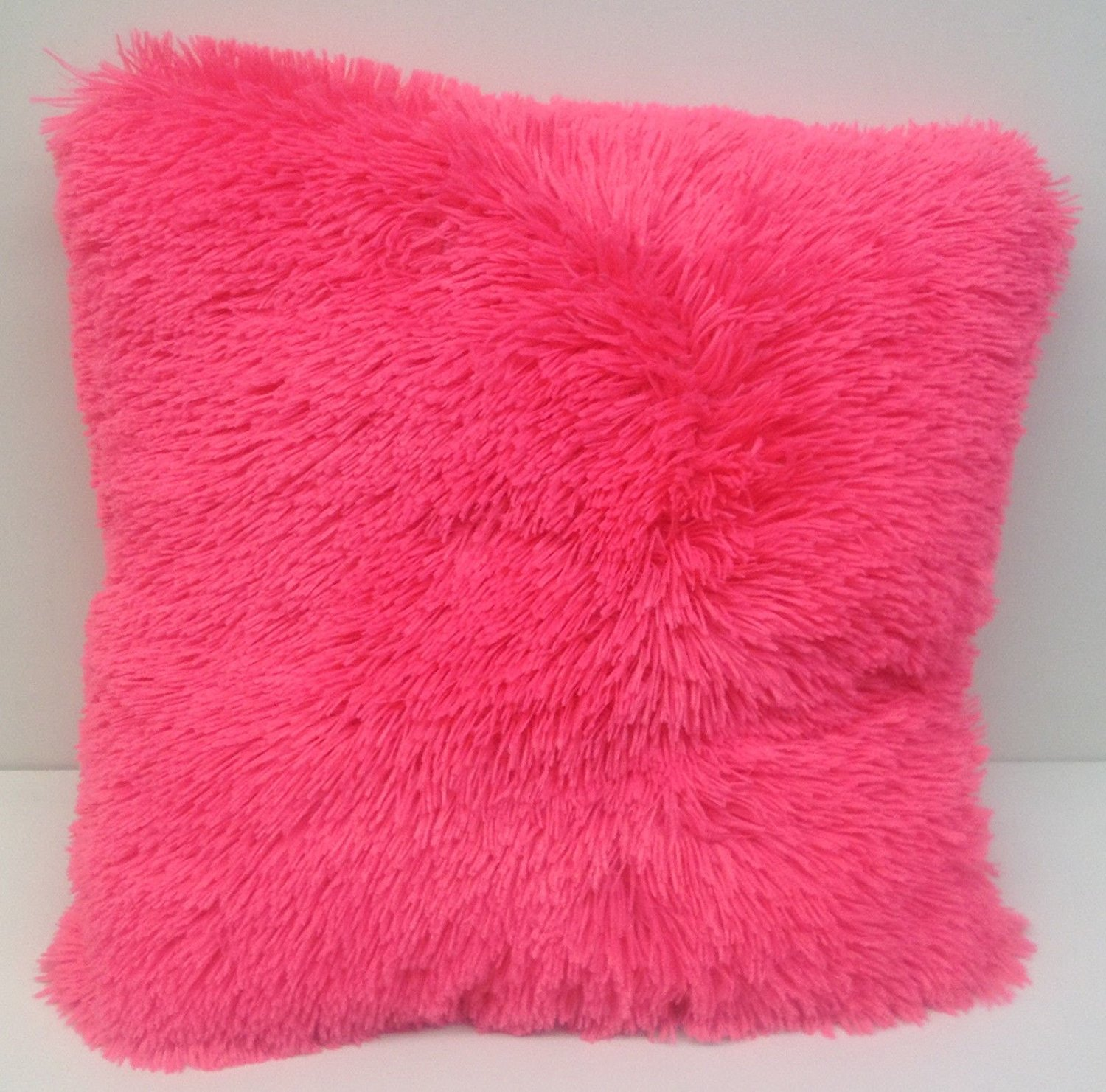 Set of 2 Large Shaggy Faux Fur Throw Pillows, 20 inches by 20 inches, Neon Colors (Pink), Each toss pillow measures 20 inches by 20 inches By Luxury Home Textiles From USA