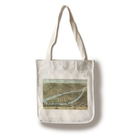 Wheeling  West Virginia   Panoramic Map  100  Cotton Tote Bag   Reusable