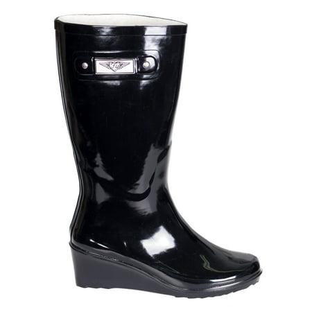 Women Black Rubber Rain Boots, Wedge Heel Design w/ Cotton Lining