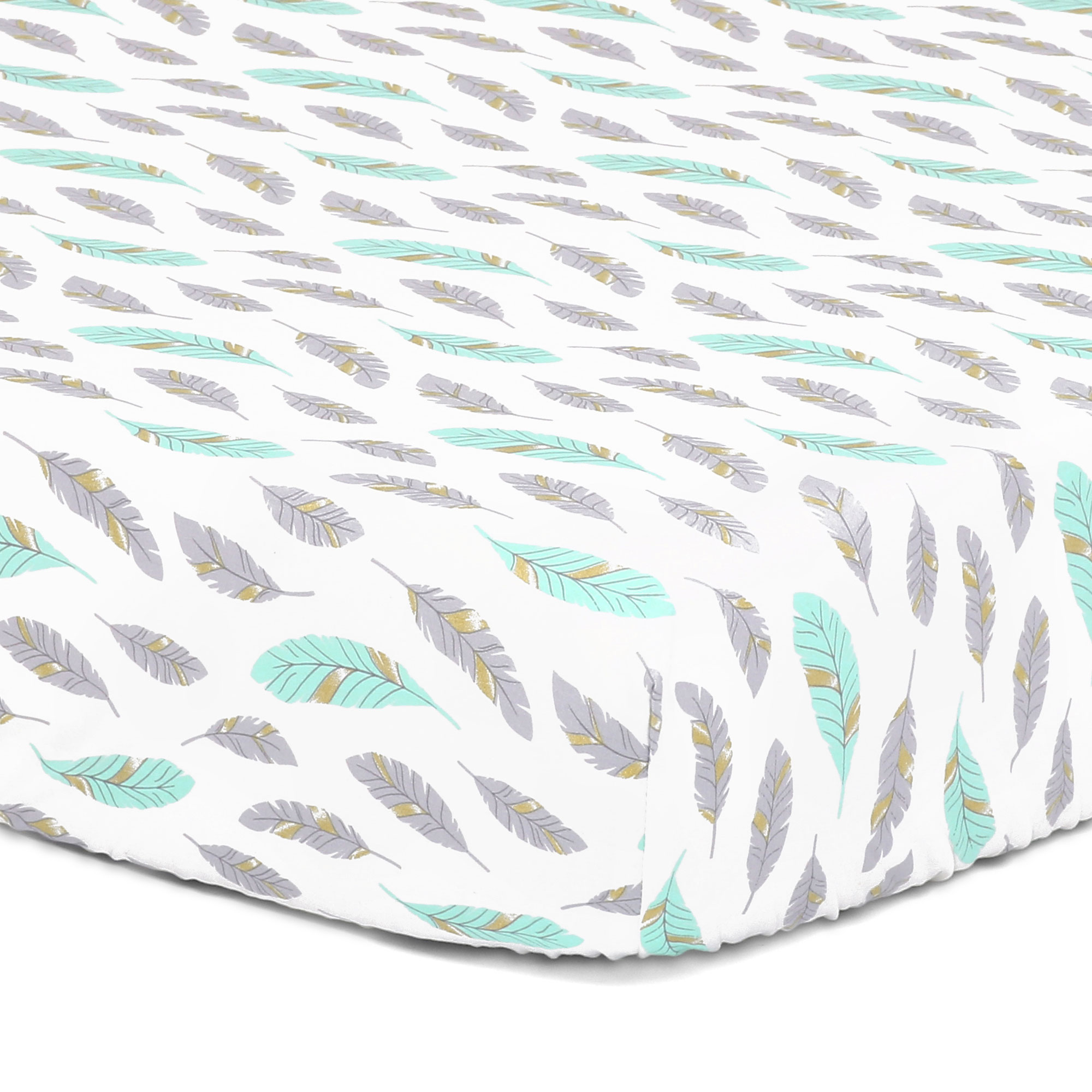 Turquoise Grey and Golden Feathers Fitted Crib Sheet by The Peanut Shell