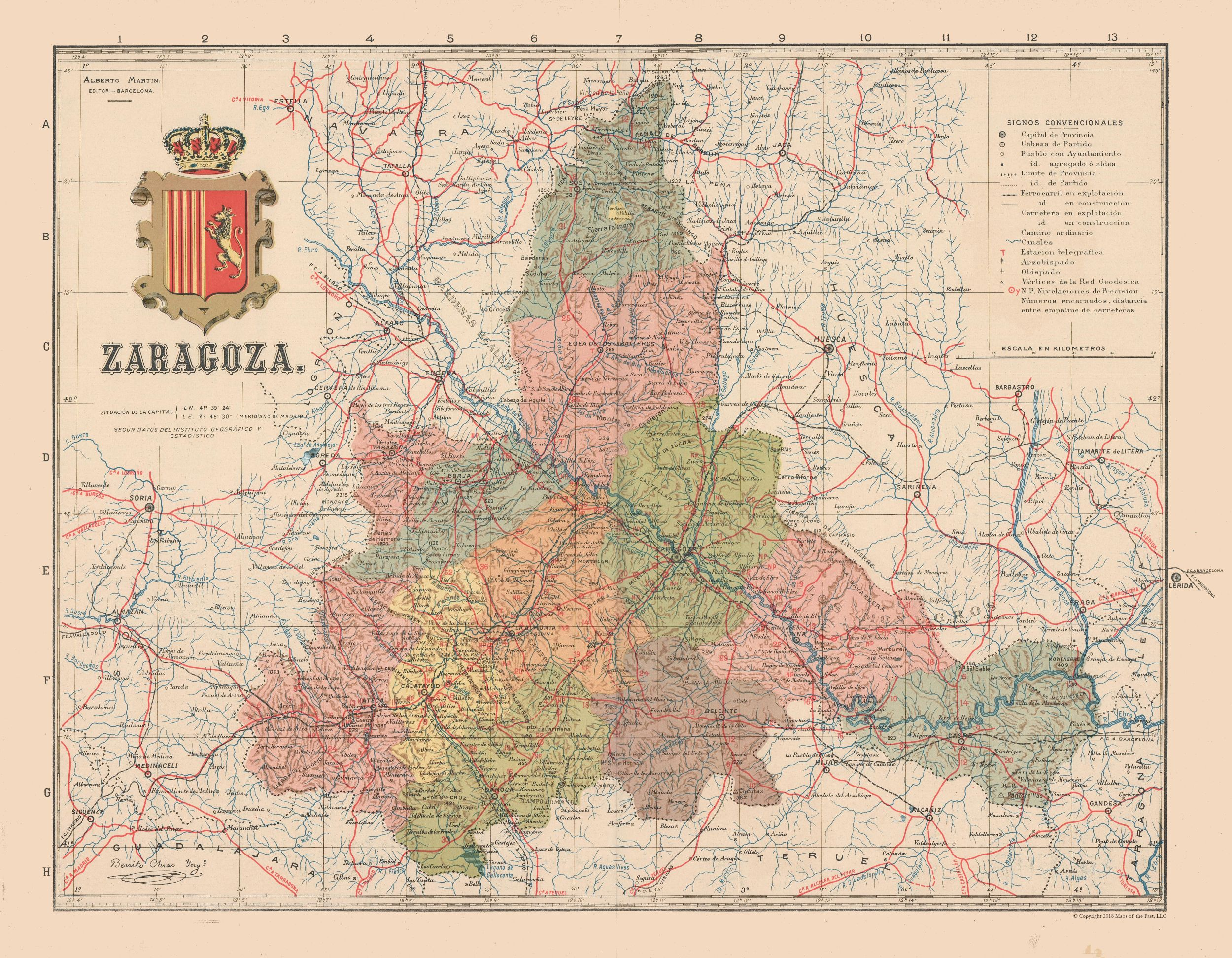 Map Of Spain Zaragoza.Old Spain Map Zaragoza Martin 1911 29 58 X 23 Walmart Com