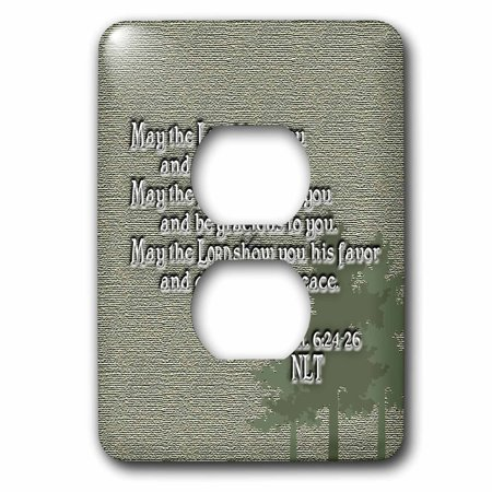3dRose Aaron Blessing Numbers 6 24 26 Bible verse 2 Plug Outlet Cover