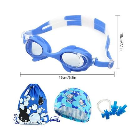 4 pcs/set Children Kids Swimming Goggles Waterproof Anti-Fog HD Boys Girls Swimming Set