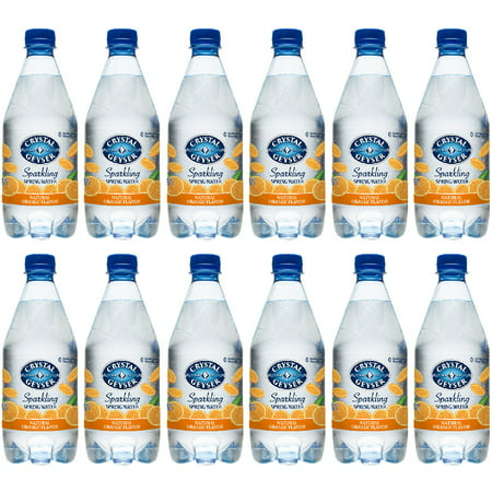 Crystal Geyser Sparkling Spring Water, Orange, 18oz. PET Bottles , No Artificial Ingredients, Sweeteners, Calorie Free (Pack of 12) Bottled Water 24 Bottles