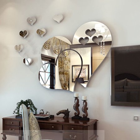 3D Removable Mirror Love Hearts Wall Sticker Decal DIY Home Room Art Mural Decor ()