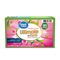 Great Value Ultimate Fresh Paradise Fresh Dryer Sheets, 160 count